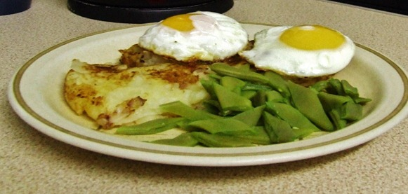 Bubble and squeak, eggs and g.beans