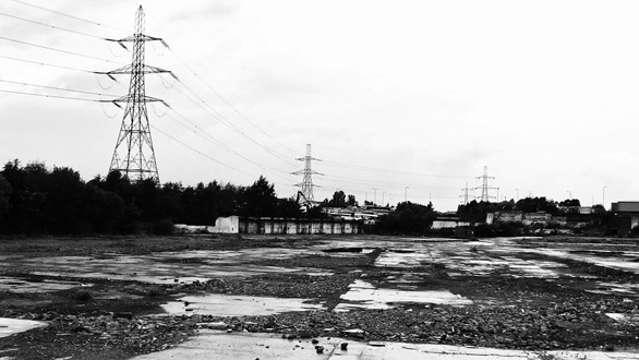 pylons in black and white