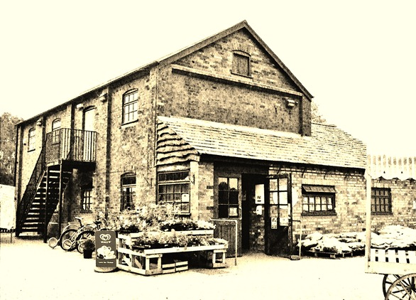 Farm Shop sketch sepia
