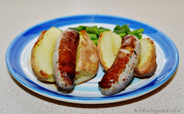 Gluten free  sausages, baked potatoes and runner beans