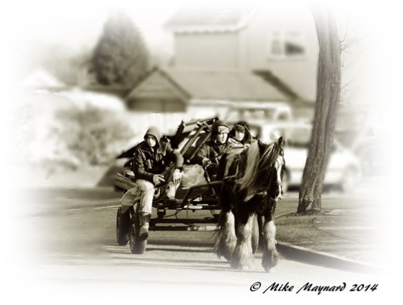 Sepia edit of horse and cart